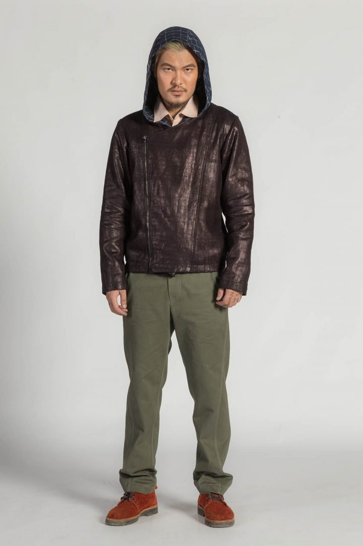 This is a studio product image of Calendering Hemp Biker by Kilomet 109 - Phieu Collection 2017