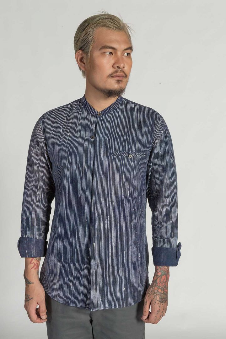 This is a Granddad Collar Batik Shirt by Kilomet 109 - Phieu Collection 2017