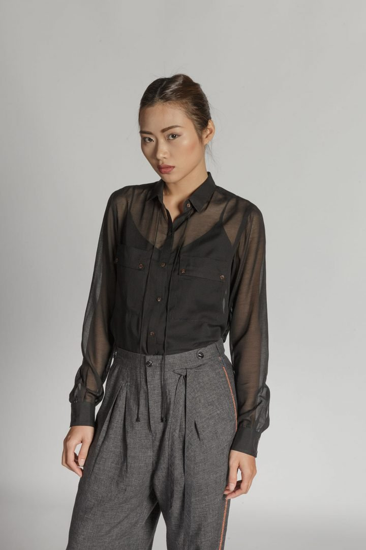 This is a Silk Sheer Shirt by Kilomet 109 - Phieu Collection 2017